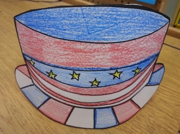 Patriotic American hat & paper plate pattern with US Const