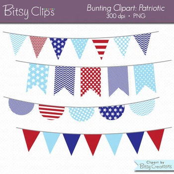 Patriotic Bunting Clipart Digital Art Set Red White and Bl