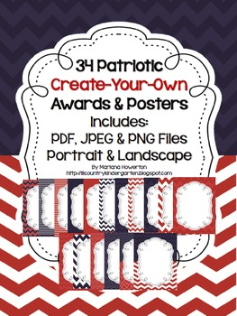 FREE Patriotic Chevron Create-Your-Own Posters Lists with