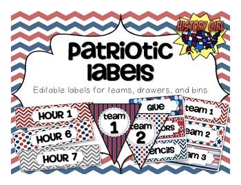 Patriotic Classroom Labels