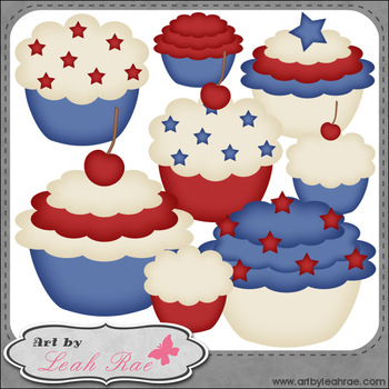 Patriotic Cupcakes 1 - Art by Leah Rae Clip Art & Line Art