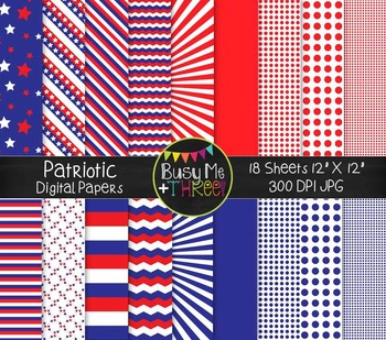 Patriotic Digital Papers {Commercial Use Digital Graphics}