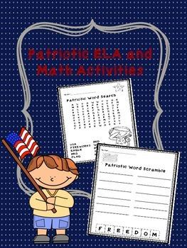 Patriotic ELA/ Math Freebie