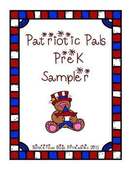 Patriotic Pals PreK Printable Sampler Learning Pack