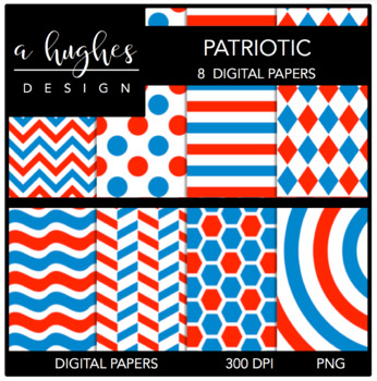 Patriotic Papers {12x12 Digital Papers for Commercial Use}