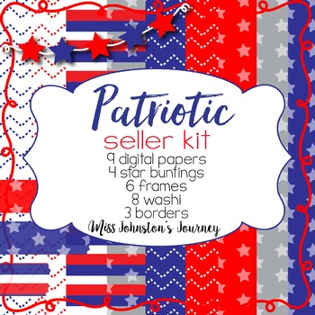 Patriotic Seller Kit {Papers, Buntings, Frames, Borders, Washi}