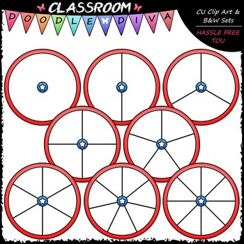 Patriotic Spinners Clip Art - Games Clip Art & B&W Set