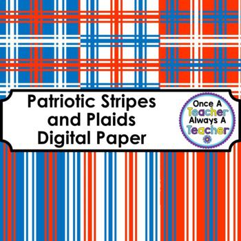 Digital Papers - Patriotic Stripes and Plaids