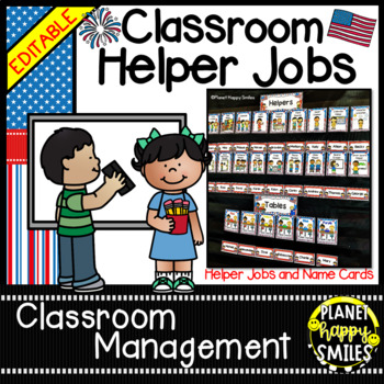 Classroom Helper Jobs (EDITABLE) ~ Patriotic Theme