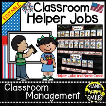 Classroom Helper Jobs (EDITABLE) ~ Patriotic Theme