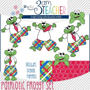 Patriotic Themed Froggy Clipart Set