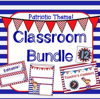 Patriotic USA Theme Classroom Jobs, Newsletter, Nameplates
