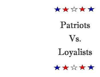 Patriots vs. Loyalists Booklet