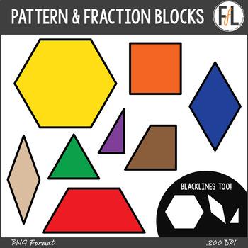 Standard & Fraction Pattern Blocks Clipart