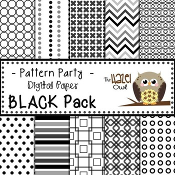 Pattern Party Digital Papers in Black: Graphics for Teachers