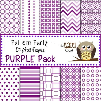 Pattern Party Digital Papers in Purple: Graphics for Teachers