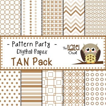 Pattern Party Digital Papers in Tan/Brown: Graphics for Teachers