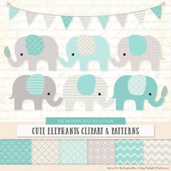 Pattern Zoo Vector Elephants Clipart & Digital Papers in Aqua