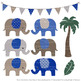 Pattern Zoo Vector Elephants Clipart & Digital Papers in R