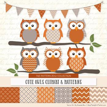 Pattern Zoo Vector Owls Clipart & Digital Papers in Pumpkin