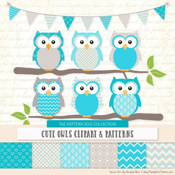 Pattern Zoo Vector Owls Clipart & Digital Papers in Tropical Blue