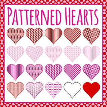 Patterned Hearts (Valentines Day) Clip Art Pack for Commer