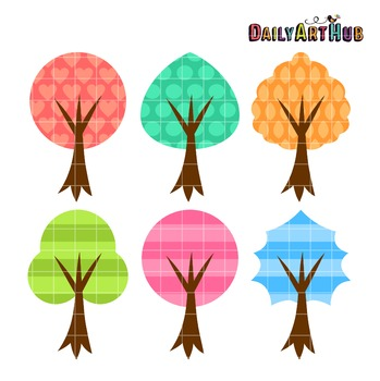 Patterned Trees Clip Art - Great for Art Class Projects!