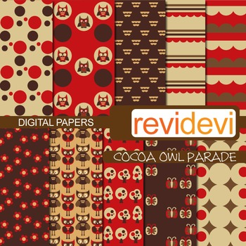 Patterned papers for background - Cocoa owl parade (red, brown)