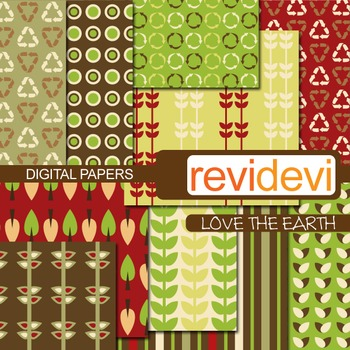 Patterned papers for background - Love the earth (recycle,