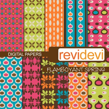 Patterned papers for background - flamboyant spring (retro
