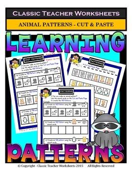 Patterns-Create Animal Patterns AB/ABB/ABC-Kindergarten to