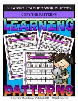 Patterns - Copy the Patterns - 2 or 3 Shapes-Kindergarten