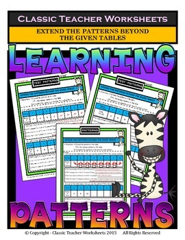 Patterns-Extend the Patterns Beyond The Given Tables-Grade