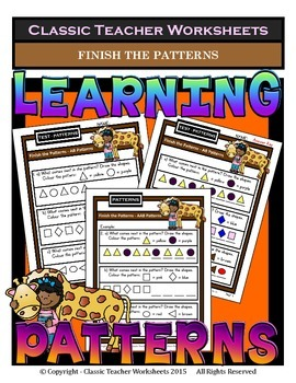 Finish Patterns - AB, AAB, ABB, ABC Patterns-Kindergarten