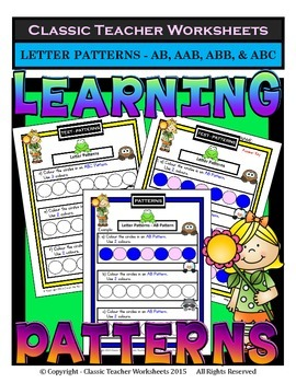 Patterns -Create Letter Patterns AB/AAB/ABB/ABC-Kindergart