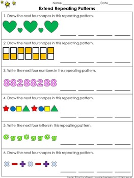 Patterns: Repeating Patterns (Extend) Practice Sheets - Ki