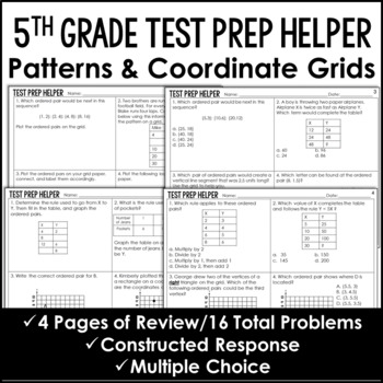 Patterns and Coordinate Grids Problems {Common Core Test P