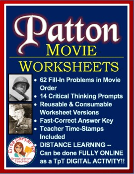 Patton Movie Worksheets / Tests and Guide