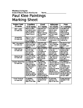 Paul Klee Painting Marking Sheet