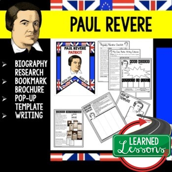 Paul Revere Biography Research, Bookmark Brochure, Pop-Up,