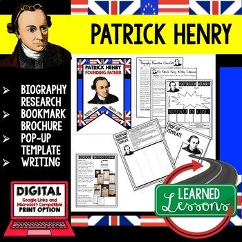 Patrick Henry Biography Research, Bookmark Brochure, Pop-U