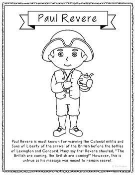 Paul Revere Coloring Page Activity or Poster with Mini Bio