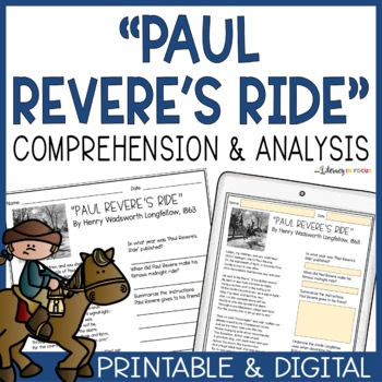 """""""Paul Revere's Ride"""" Poetry Analysis (Full Text Included!)"""