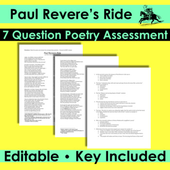 Paul Revere's Ride - Poetry Analysis Quiz