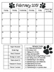 2016-2017 Paw Print Monthly Behavior Calendars to use with