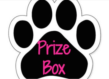 Paw Print Prize Box Sign in Hot Pink