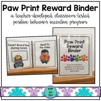 Paw Print Reward Binder (Positive Behavior Incentive Program)