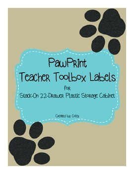 Paw Print Teacher ToolBox Labels