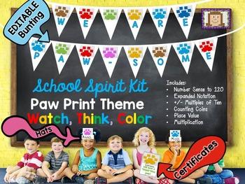 Paw Print Watch, Think, Color - School Spirit Kit