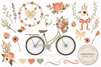 Peach Floral Wedding Bicycle Vectors - Flower Clipart, Peo